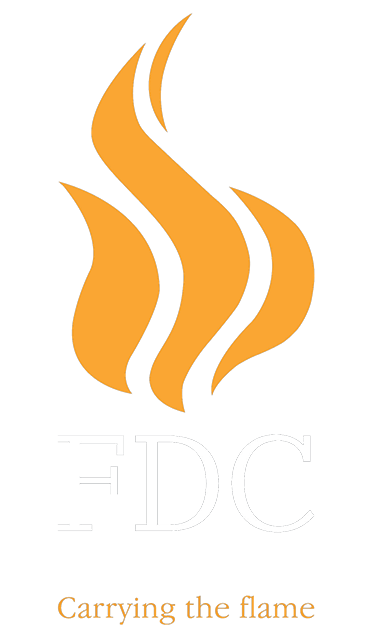 FDC logo - the fireplace gallery, full FDC range of fireplaces
